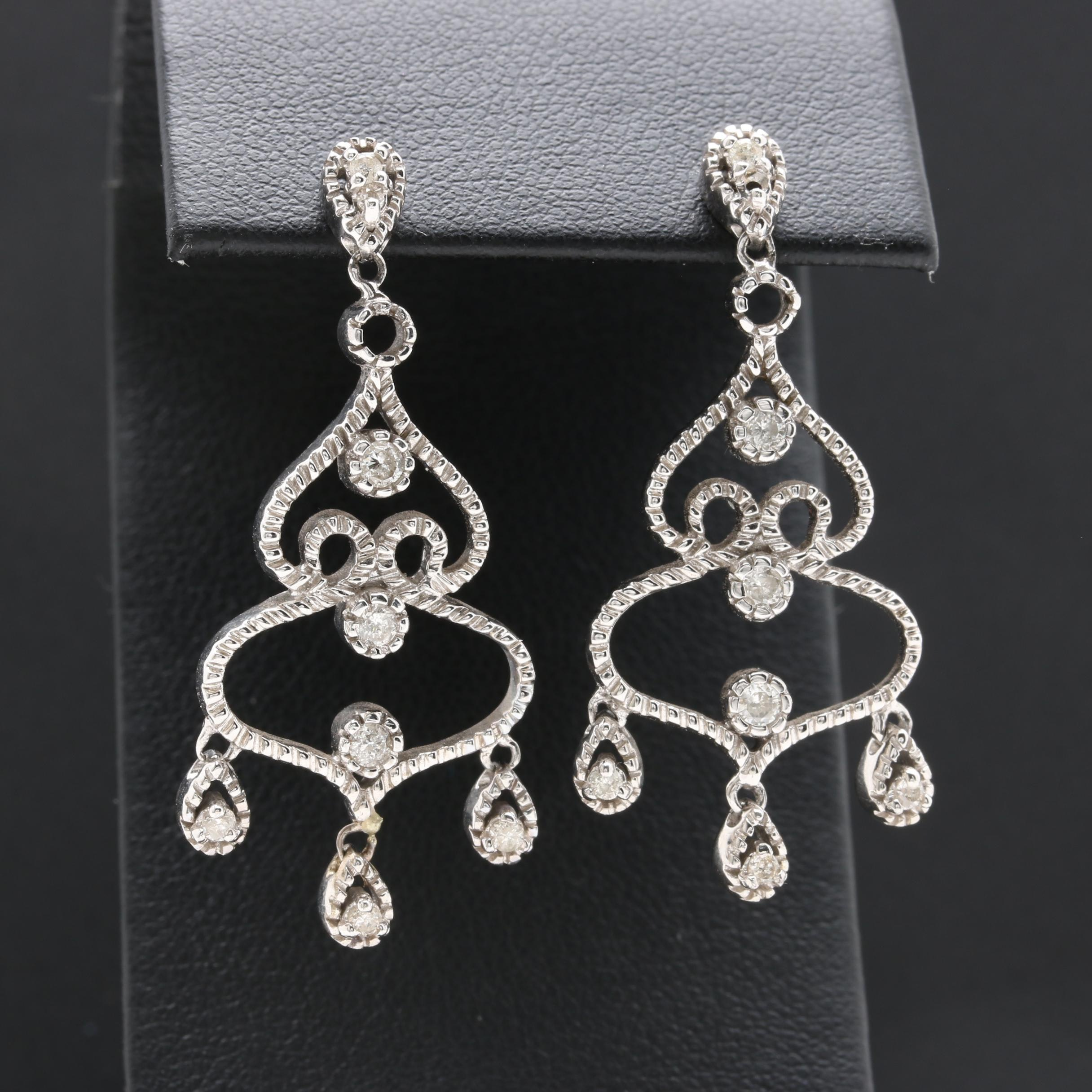 14K White Gold Diamond Chandelier Screw Back Earrings