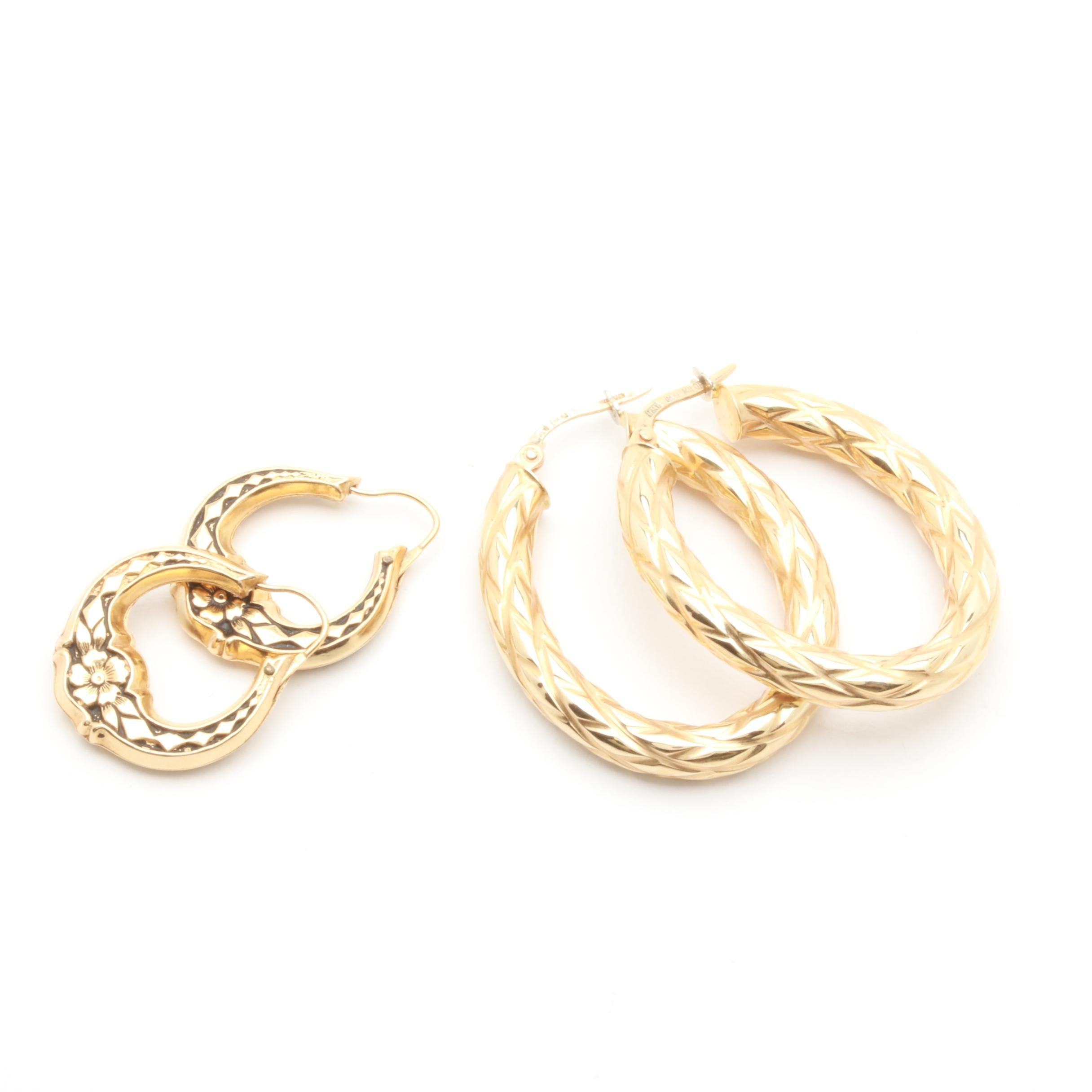 14K Yellow Gold Textured Hoop Selection Featuring Milor