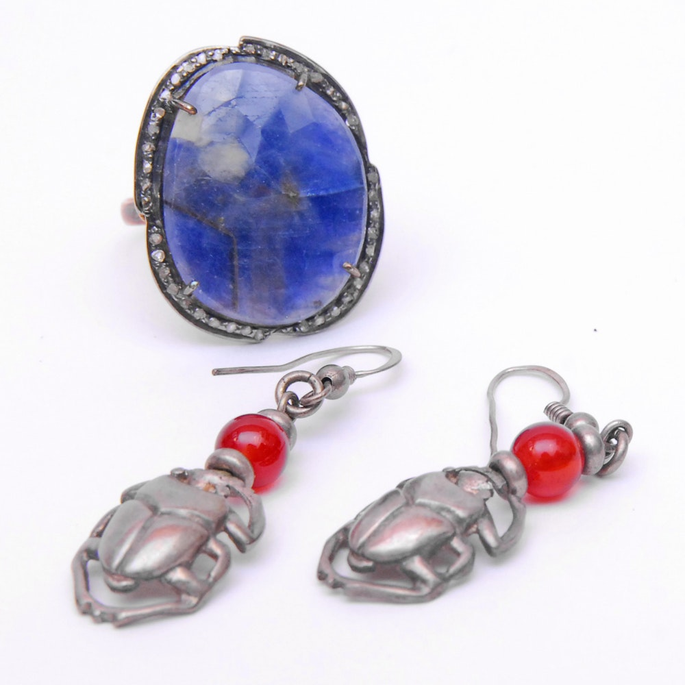 Sterling Silver Jewelry Featuring Sodalite, Diamonds, and Carnelian Stones