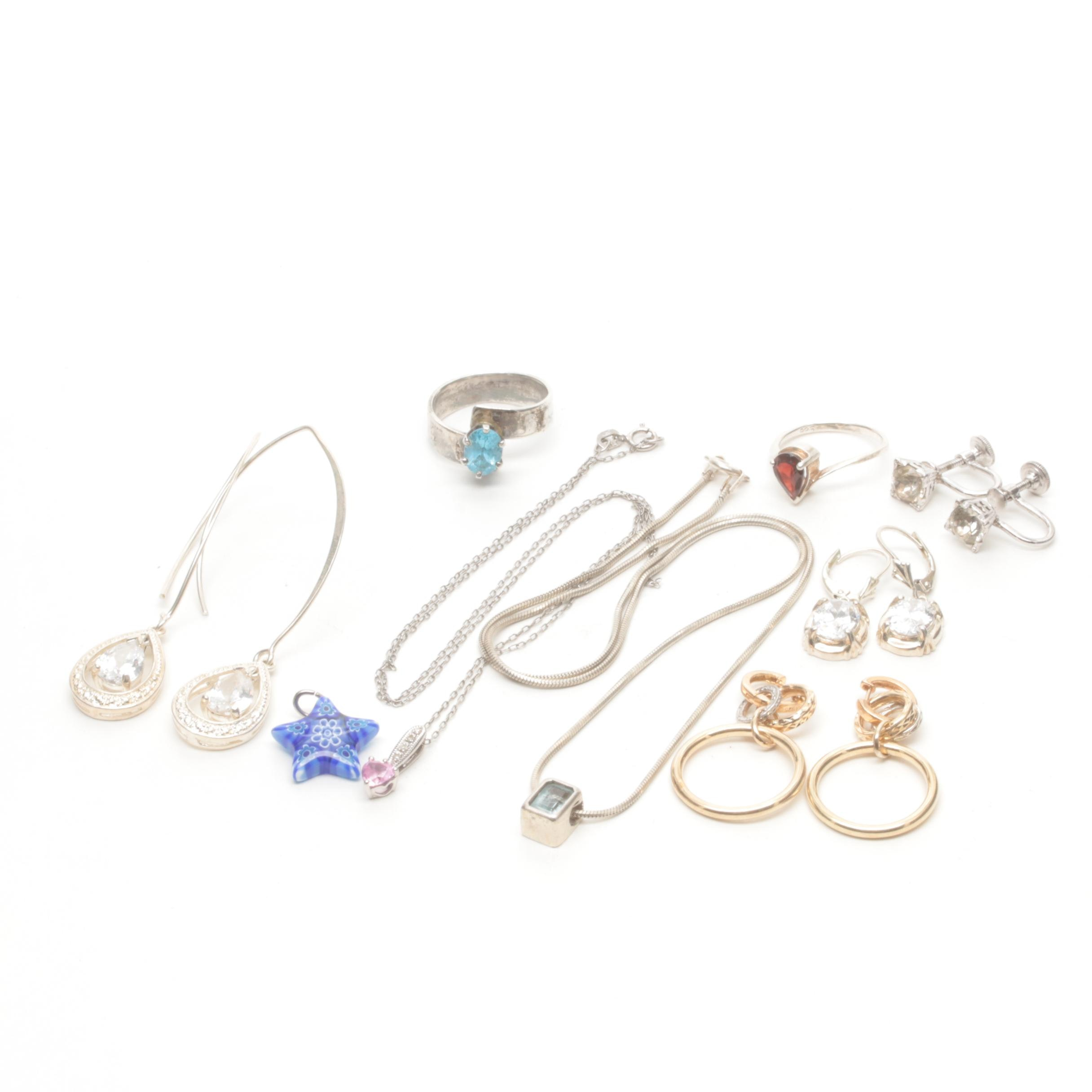 Sterling Silver and Costume Jewelry Including Diamonds and Synthetic Sapphire