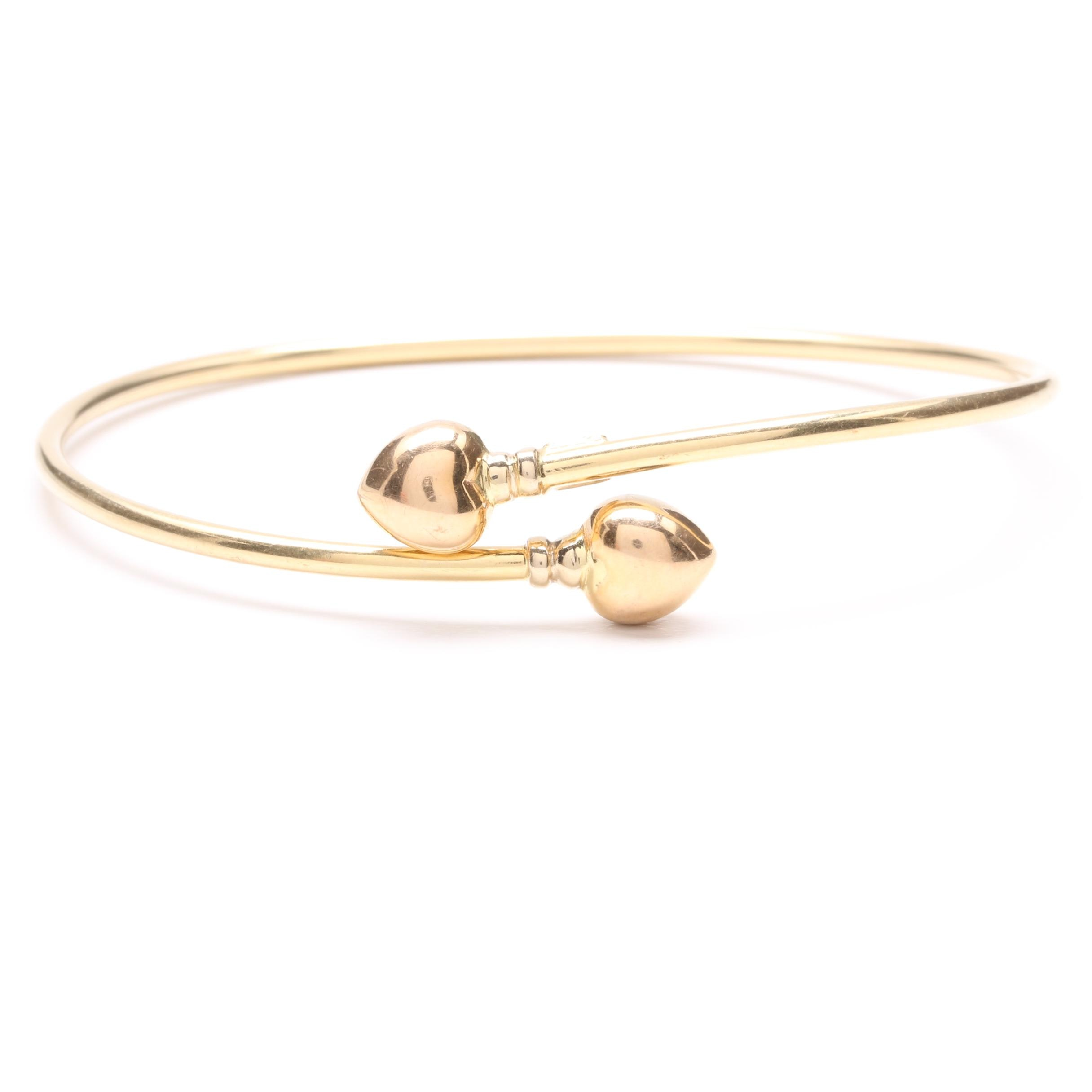 18K Yellow Gold Bangle Bracelet with Heart Accents