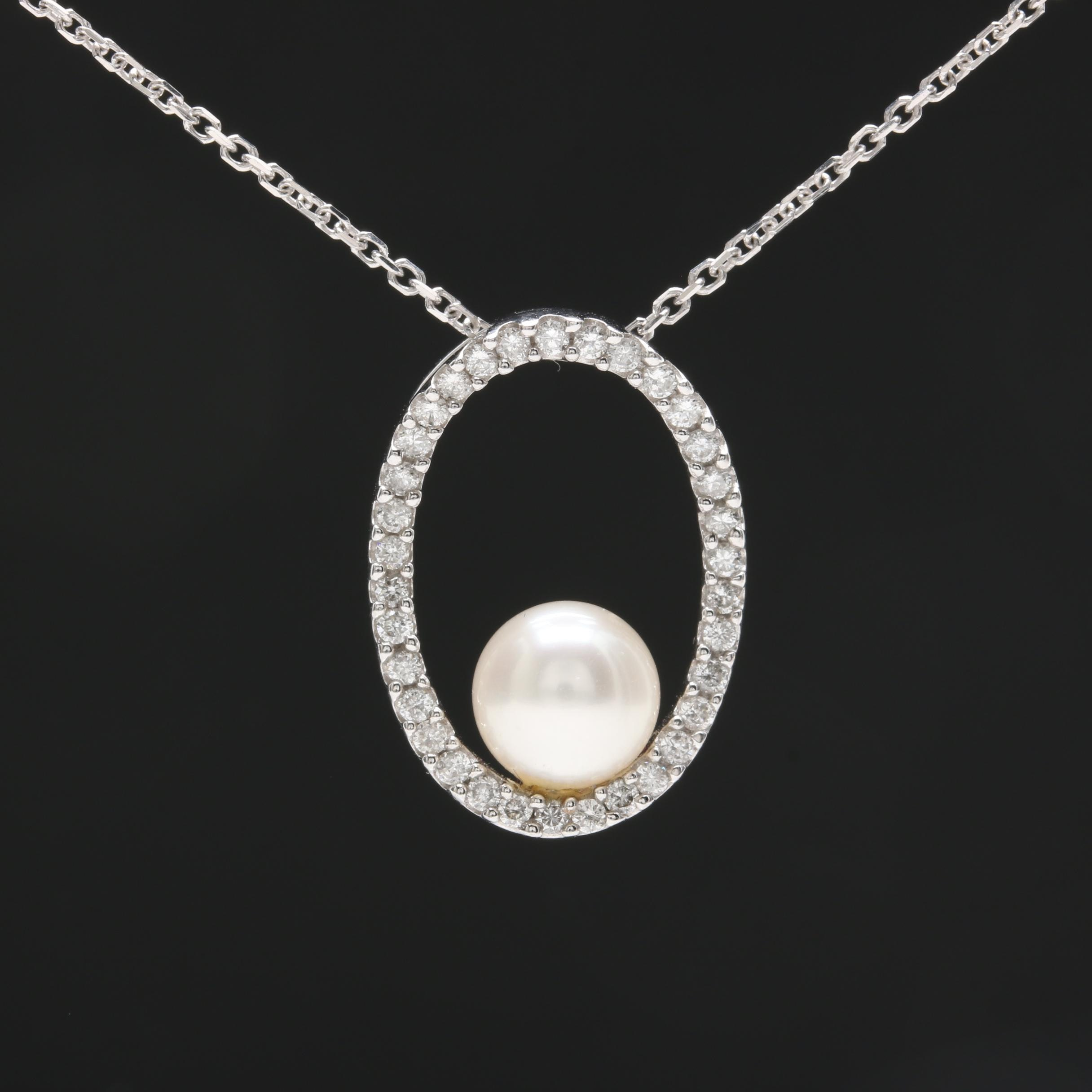 14K White Gold Necklace with Cultured Pearl and Diamond Necklace