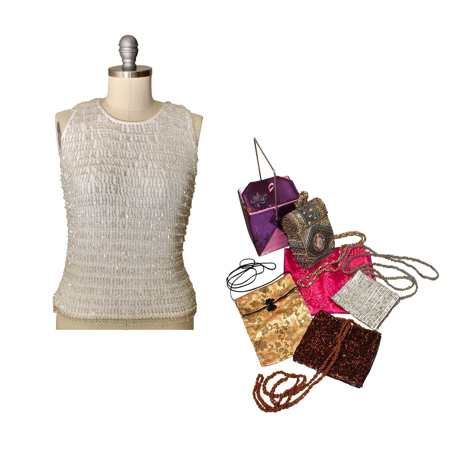 Embellished Silk Top, Handbags and Scarf