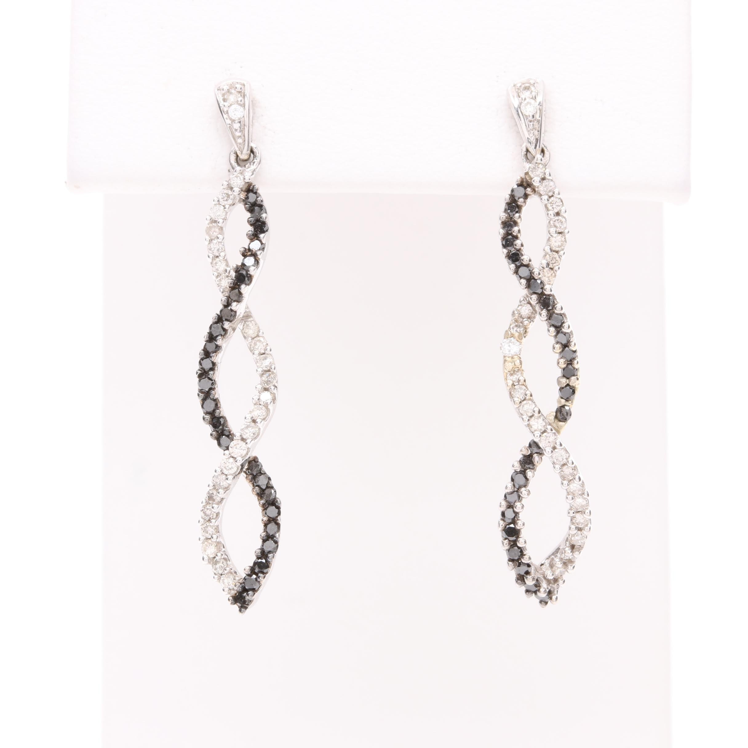 14K White Gold Diamond Earrings with Black Diamond Accents