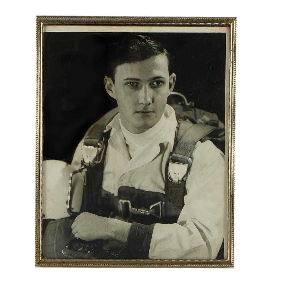 Gelatin-Silver Photograph Portrait of a Pilot