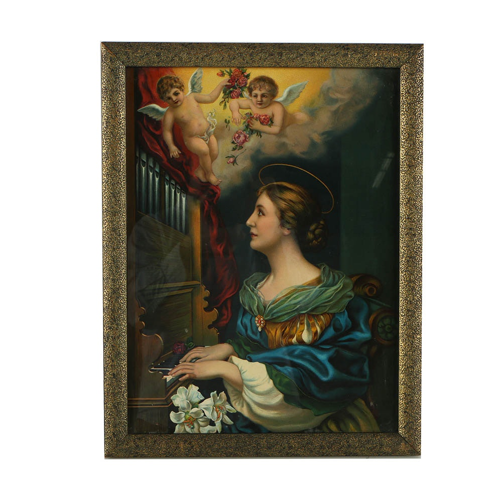 Chromolithograph of St. Cecilia
