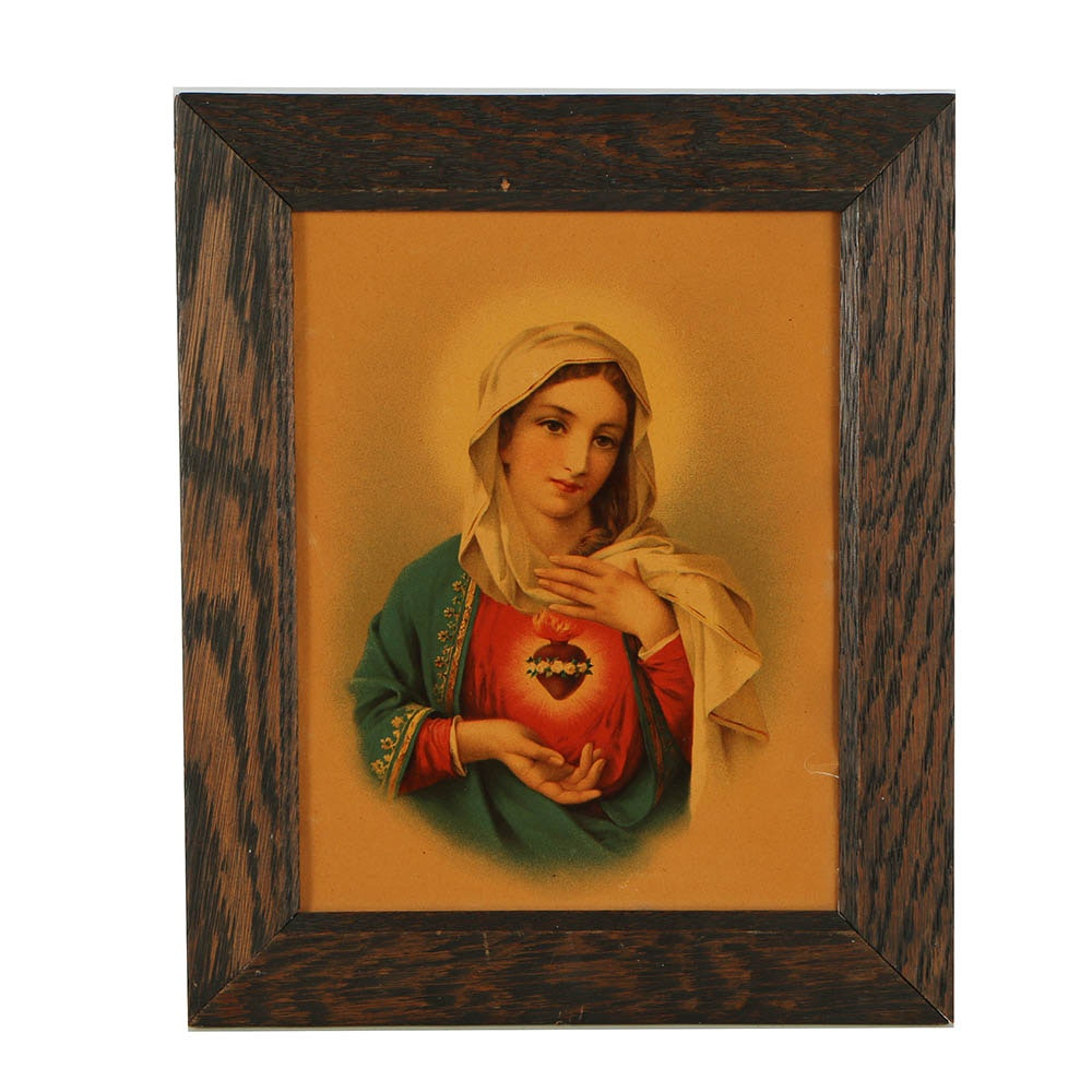 Chromolithograph of the Sacred Heart of Mary
