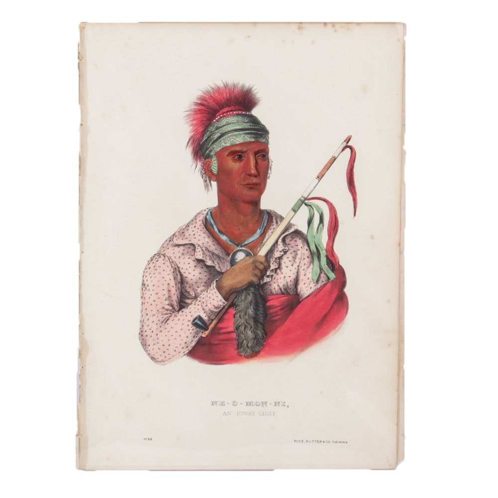 """Ne-O-Mon-Ni"" McKenney & Hall Hand Tinted Lithograph and Text"