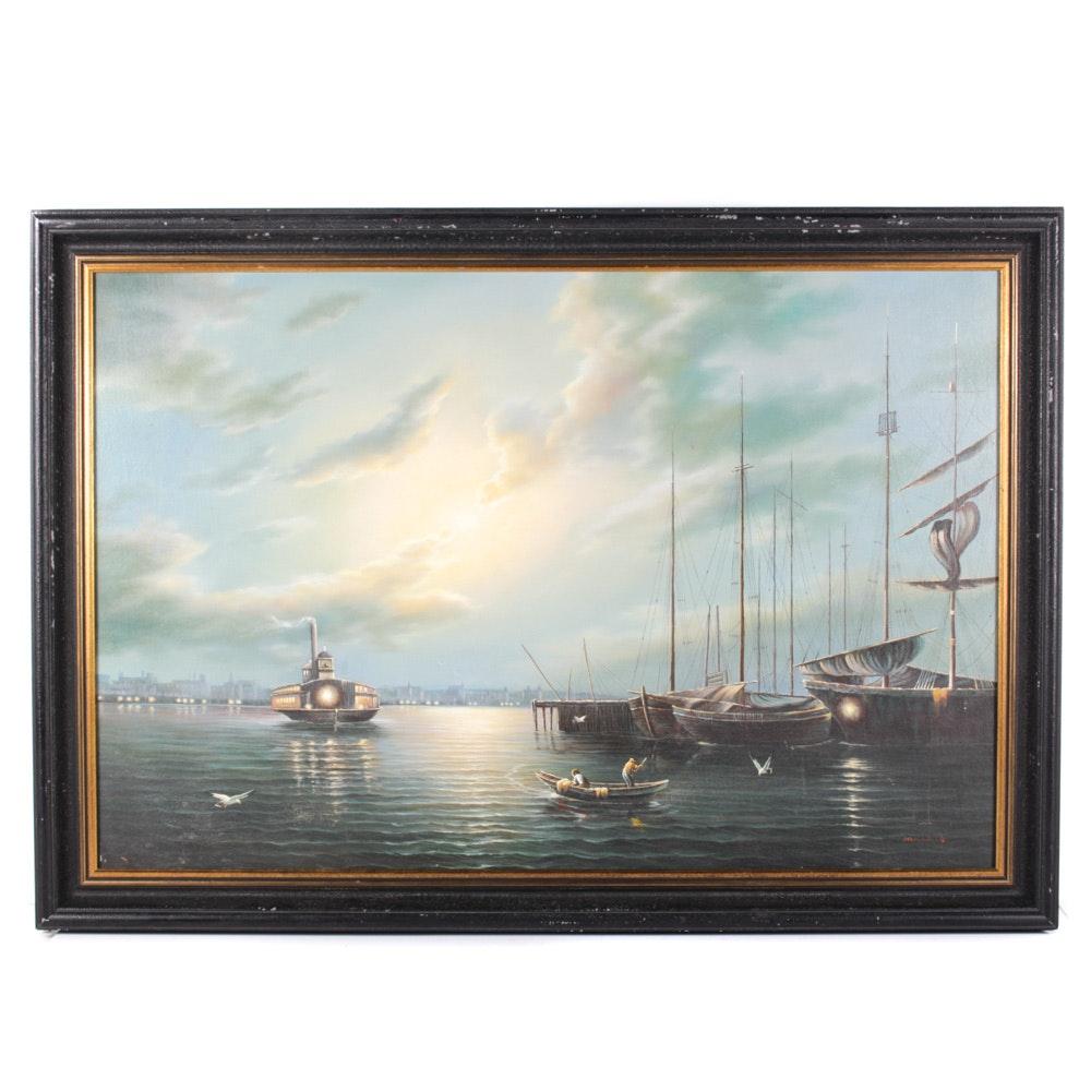 Original Oil on Canvas Nautical Landscape