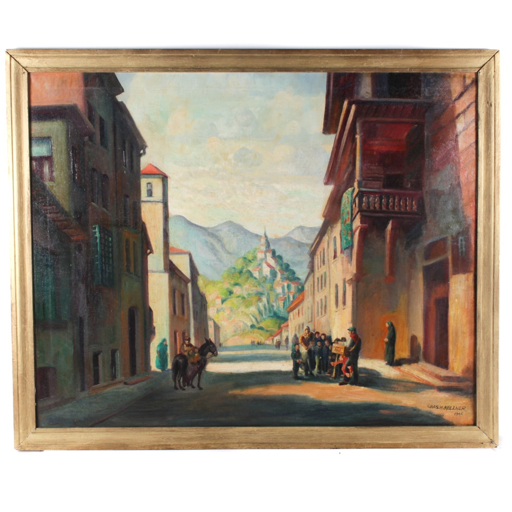 Charles H. Kellner Oil Painting of European Street Scene