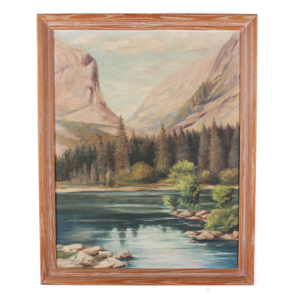 Vintage Oil Painting of Lake Mead