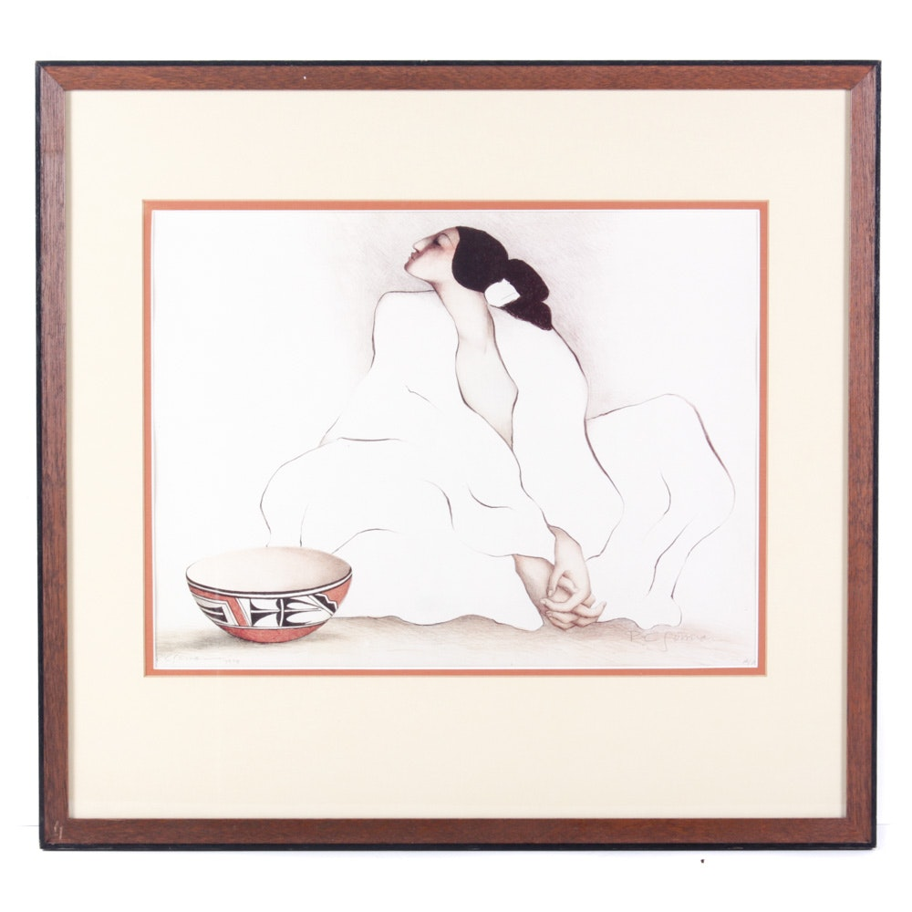 R.C. Gorman 1979 Signed Artist's Proof Offset Lithograph Native American Woman