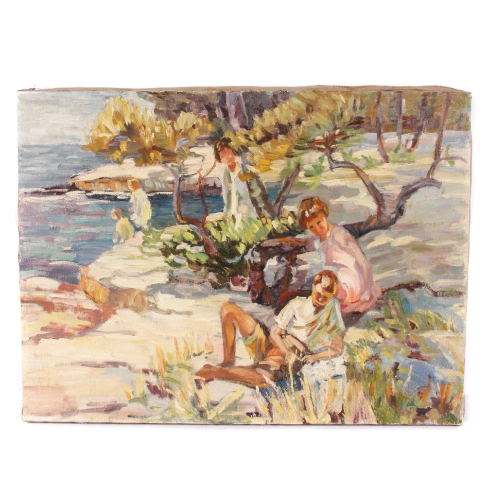 Vintage Original Oil Painting of Children by Lake