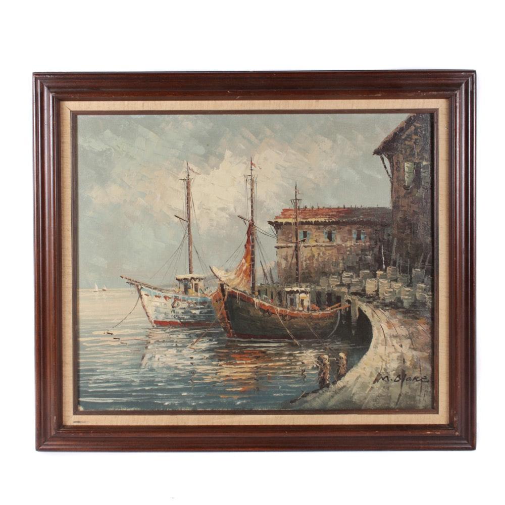 Vintage M. Blake Original Oil Painting of Boats