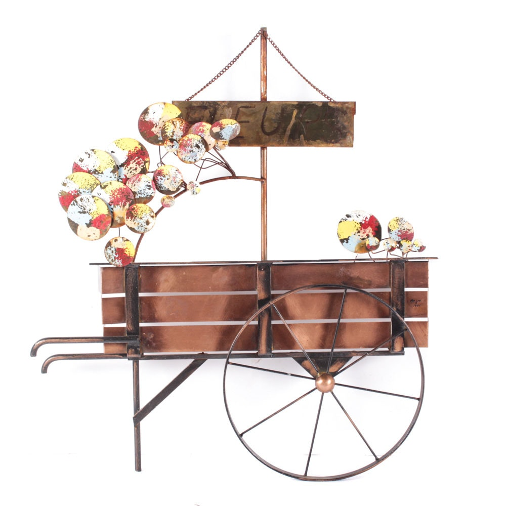 1984 Curtis Jeré Signed Metal Flower Cart Sculpture