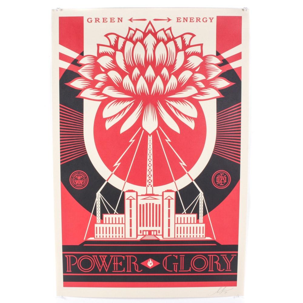 """Shepard Fairey """"Green Power"""" Signed Offset Print"""