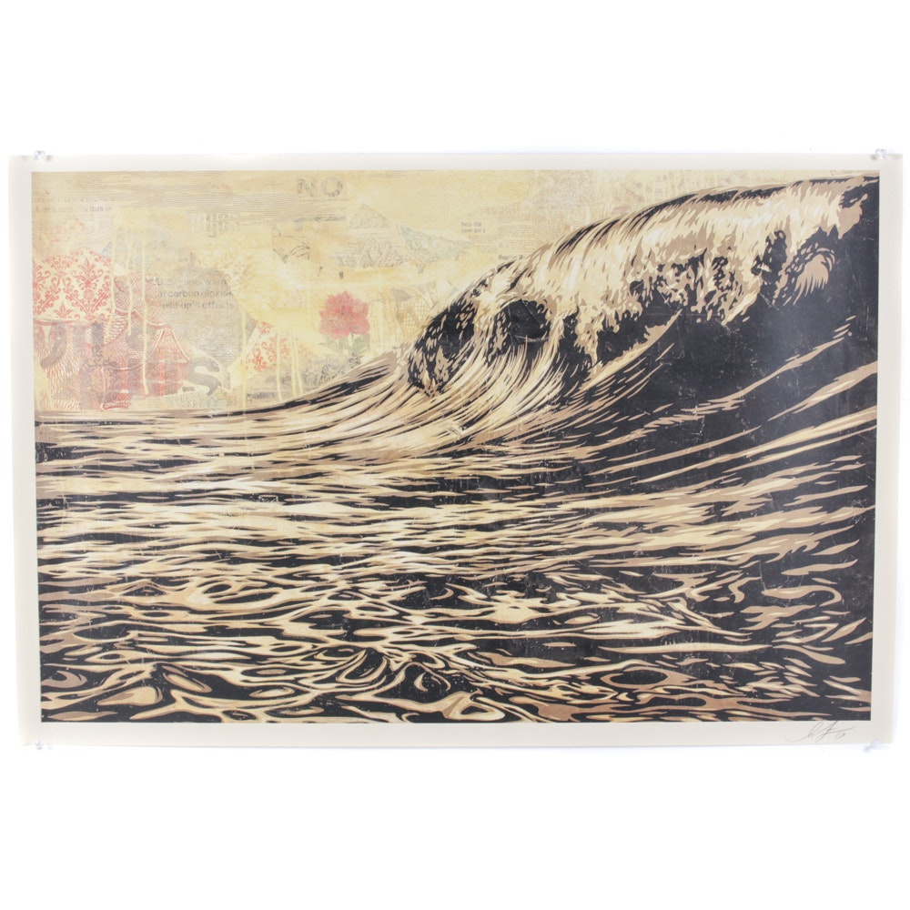 "Shepard Fairey ""Dark Wave"" Signed Offset Print"
