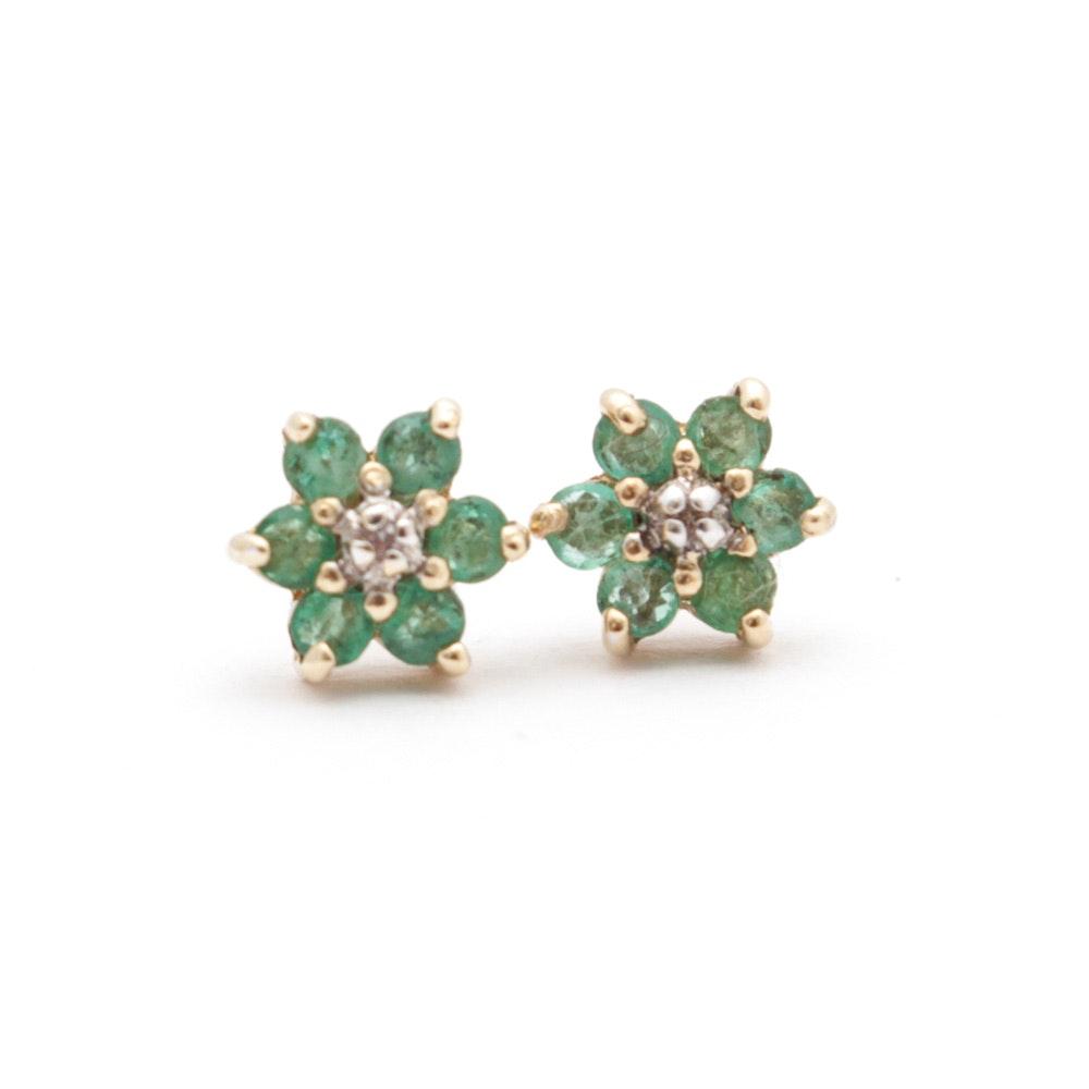 14K Gold, Emerald, and Diamond Earrings