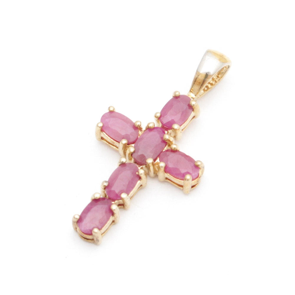 Gold Wash on Sterling Silver and Ruby Cross Pendant