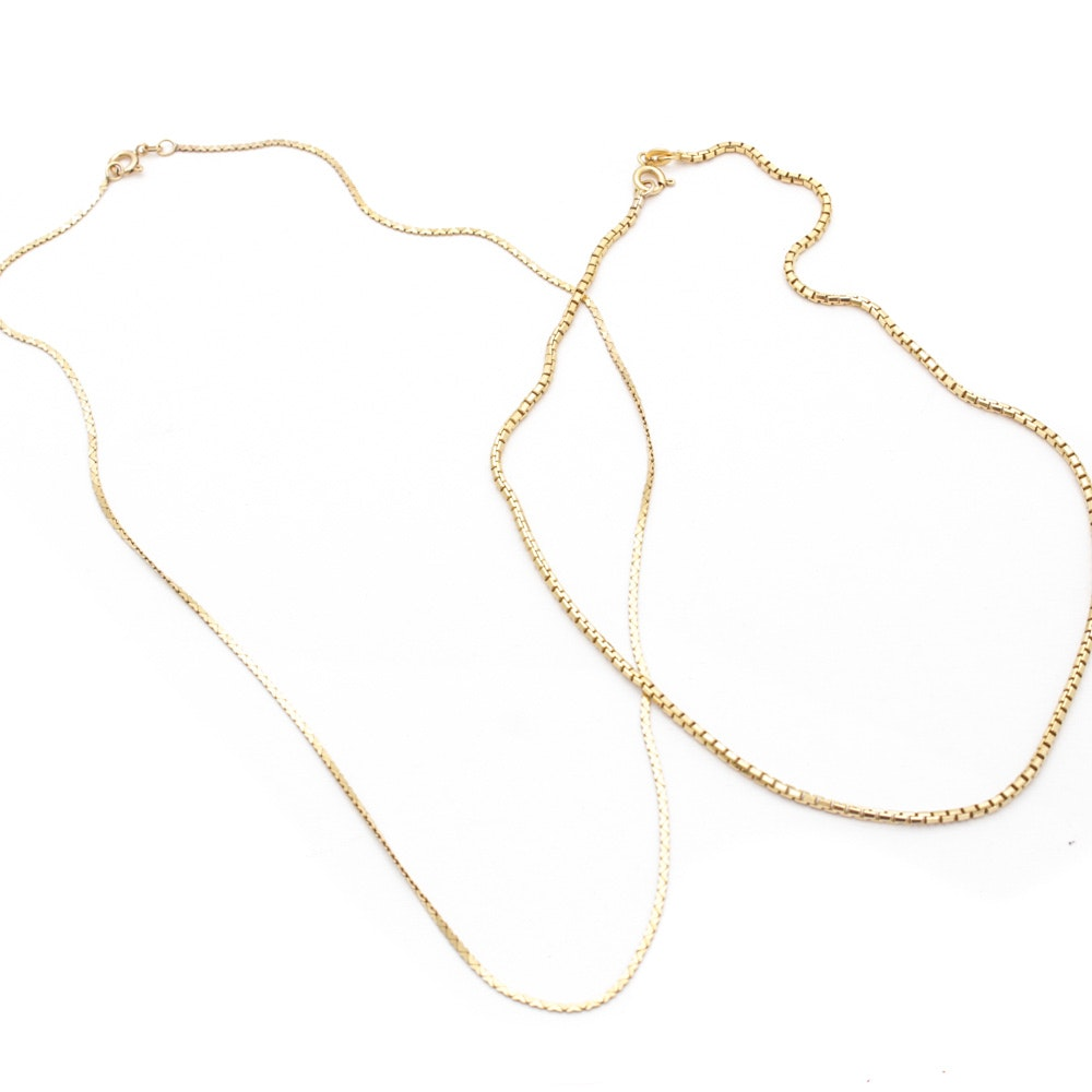 Vintage Italian 14K Yellow Gold Chain Necklaces