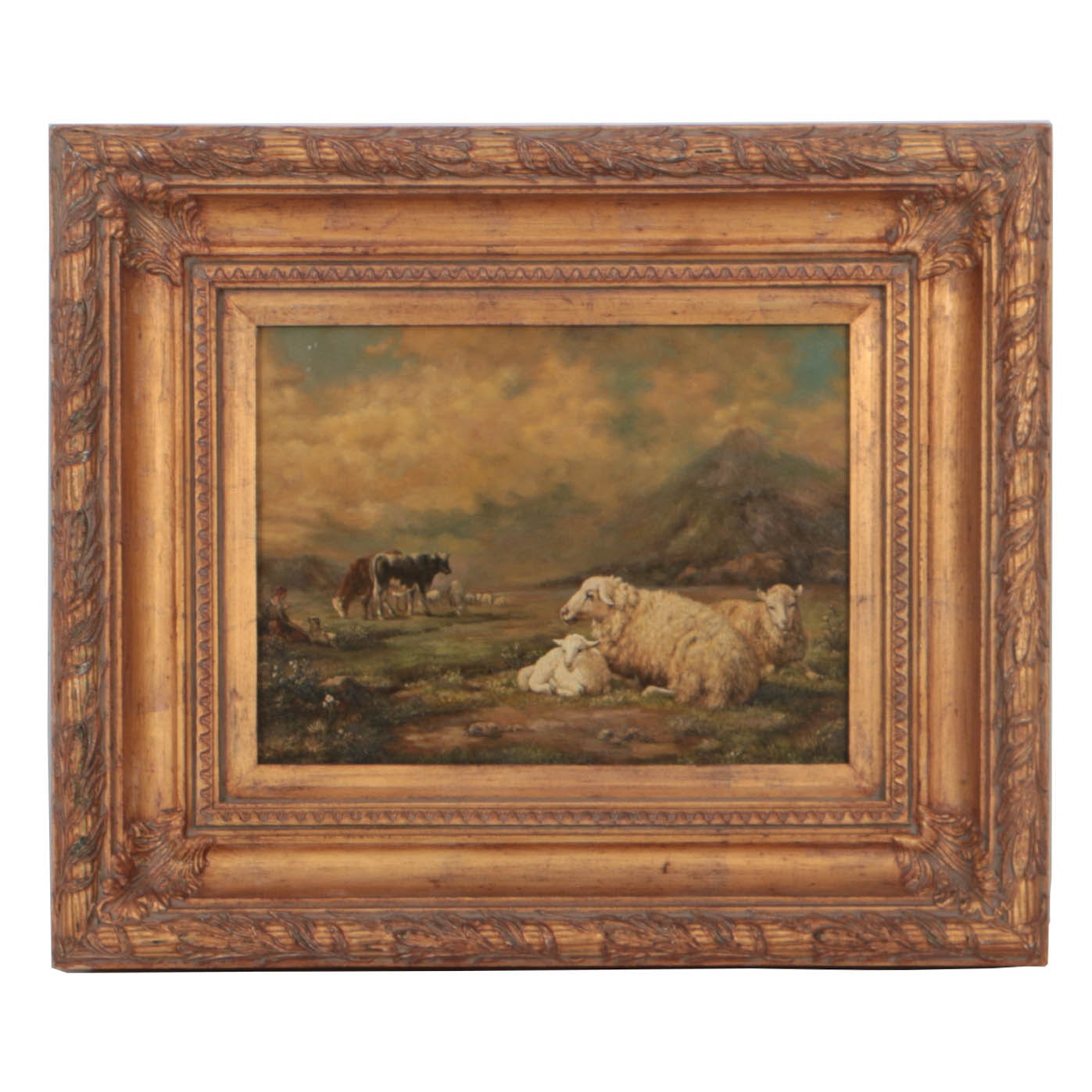 Antique Oil Painting on Panel Pastoral Landscape