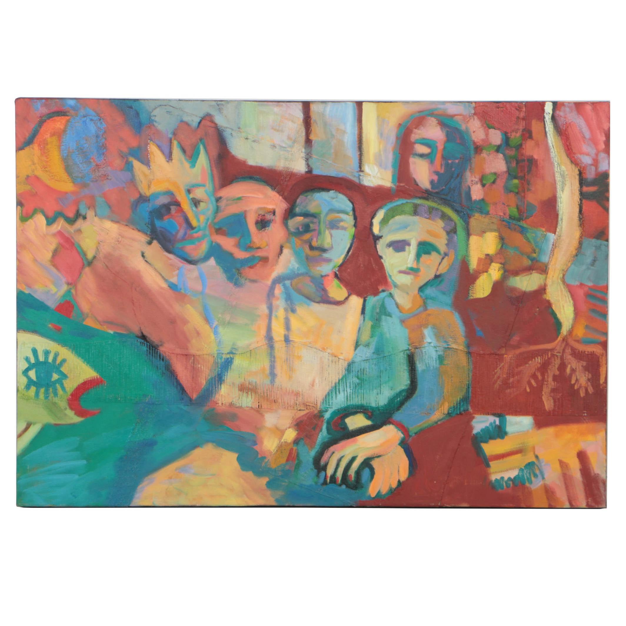 """L. Beatriz Arnillas 1989 Mixed Media Collage on Canvas """"Hierarchy"""""""