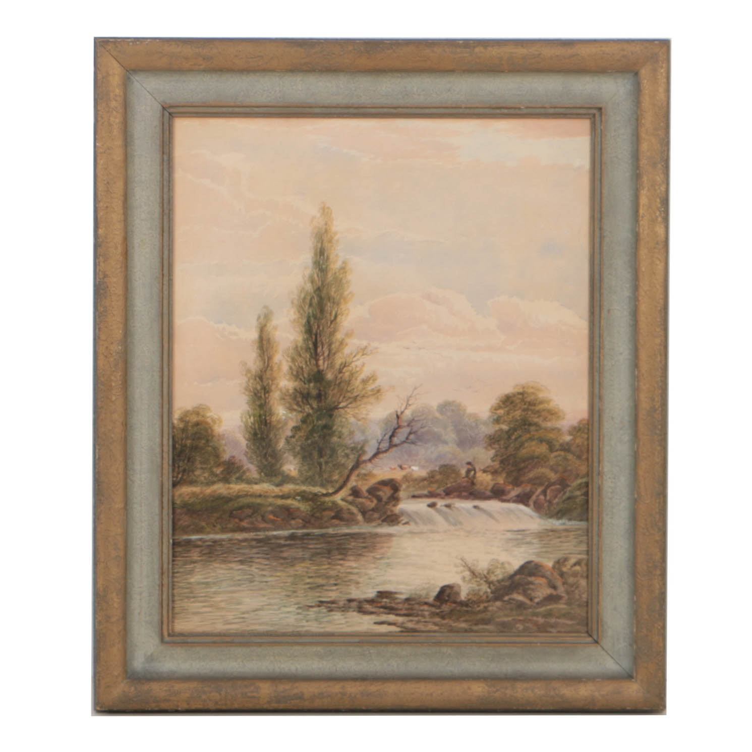 William H. Vernon Watercolor Painting on Paper Fishing Scene