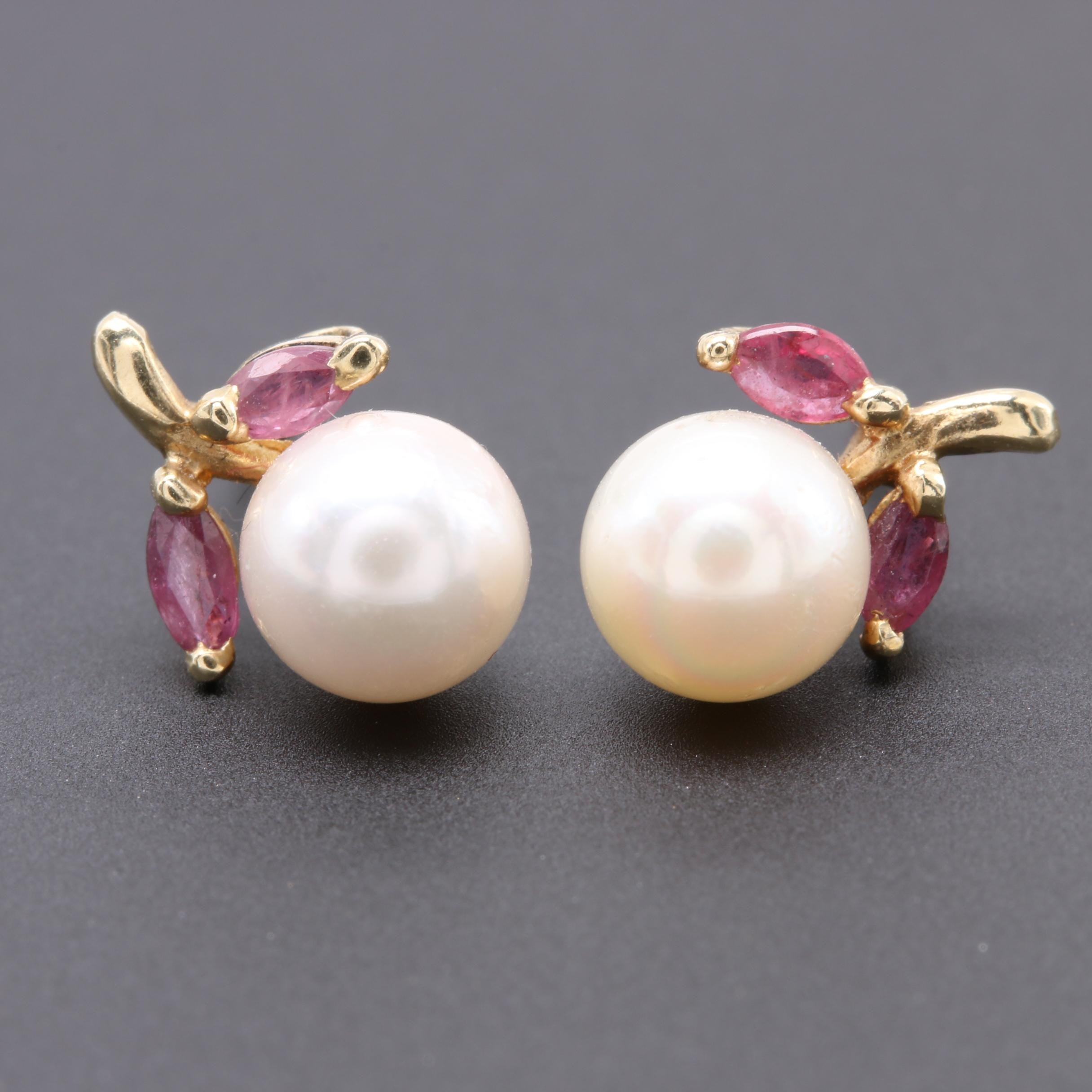 14K Yellow Gold Cultured Pearl and Ruby Earrings