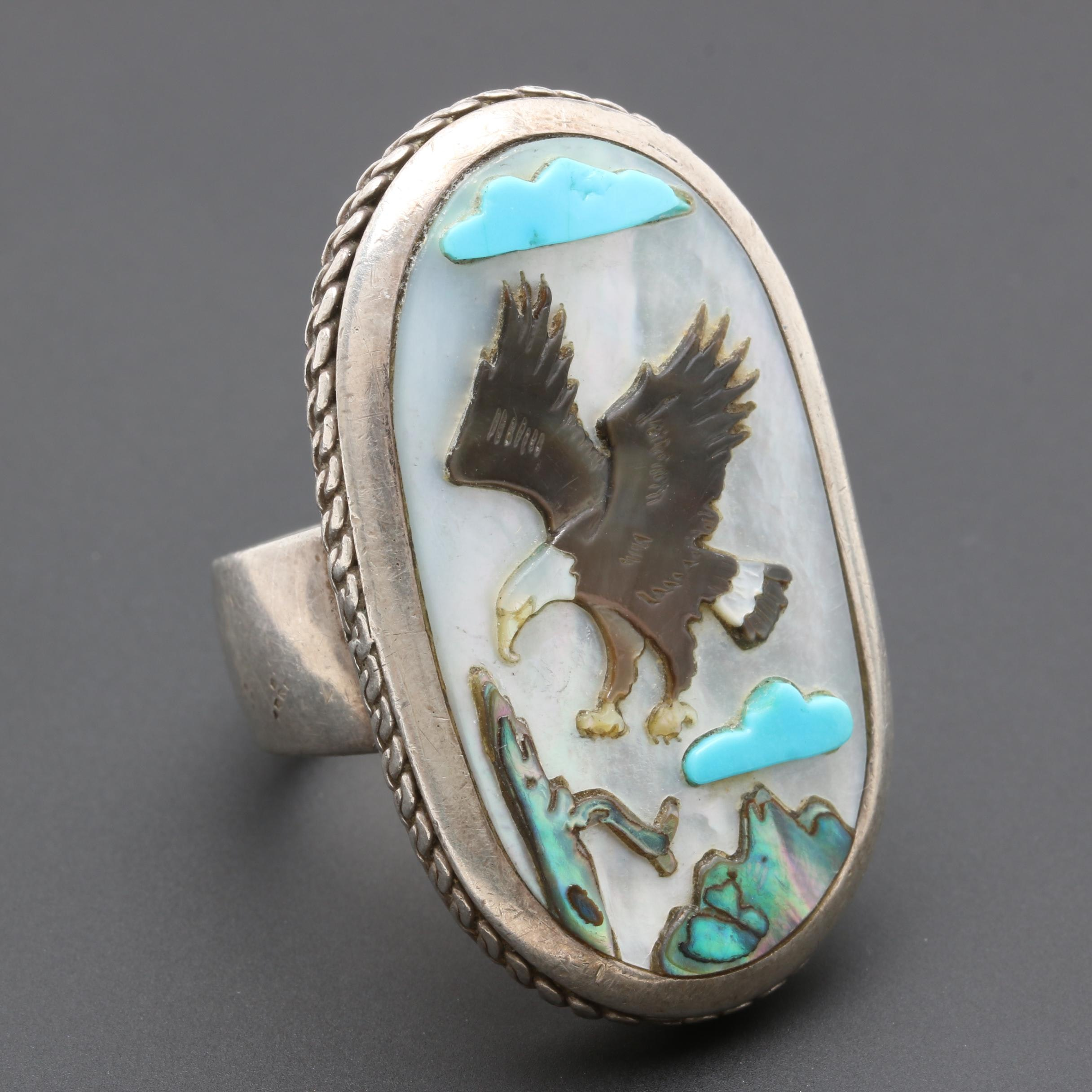 Raymond Twinhorse San Felipe Sterling Mother of Pearl Abalone and Turquoise Ring