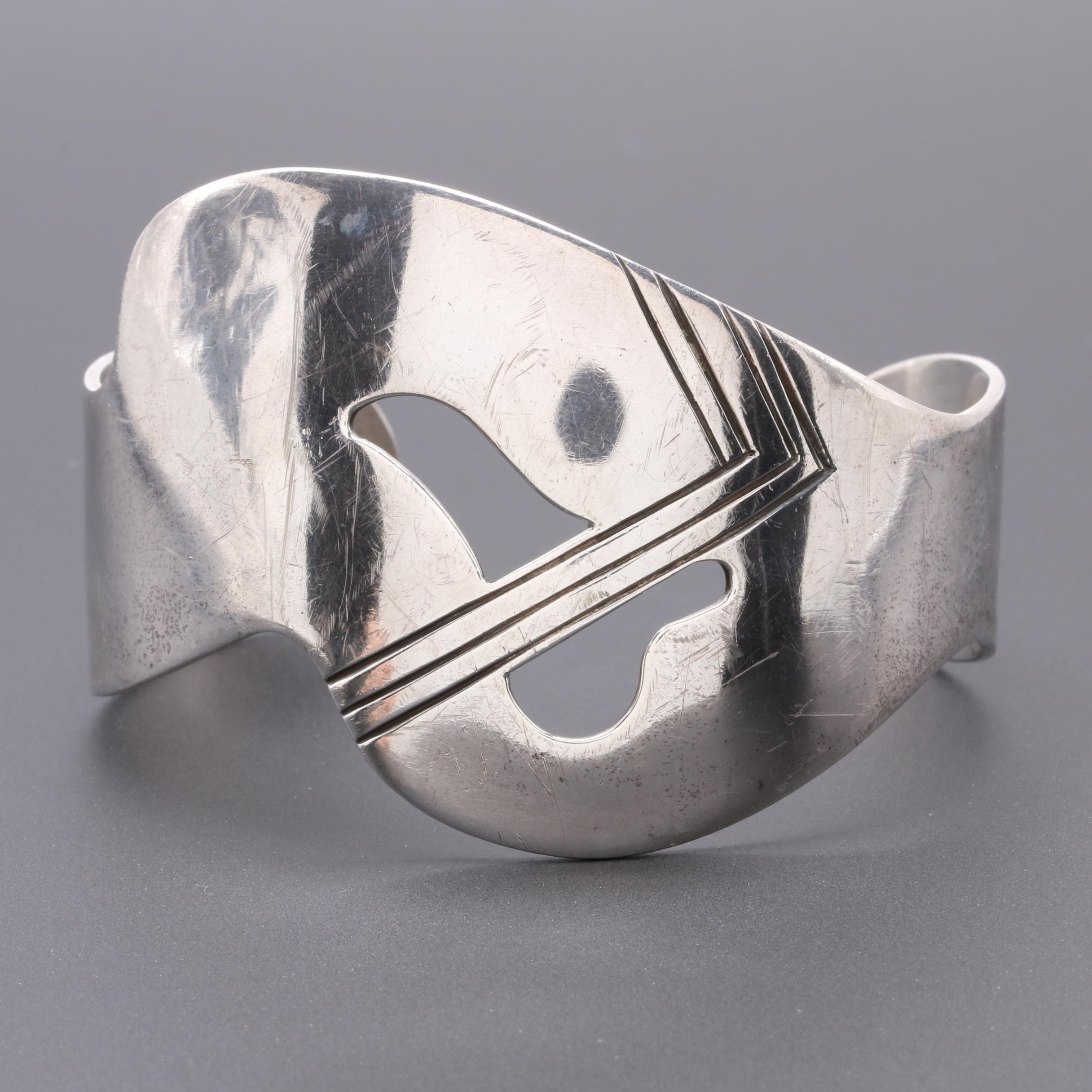 Studio Artisan Sterling Silver Abstract Cuff with Cut-Outs