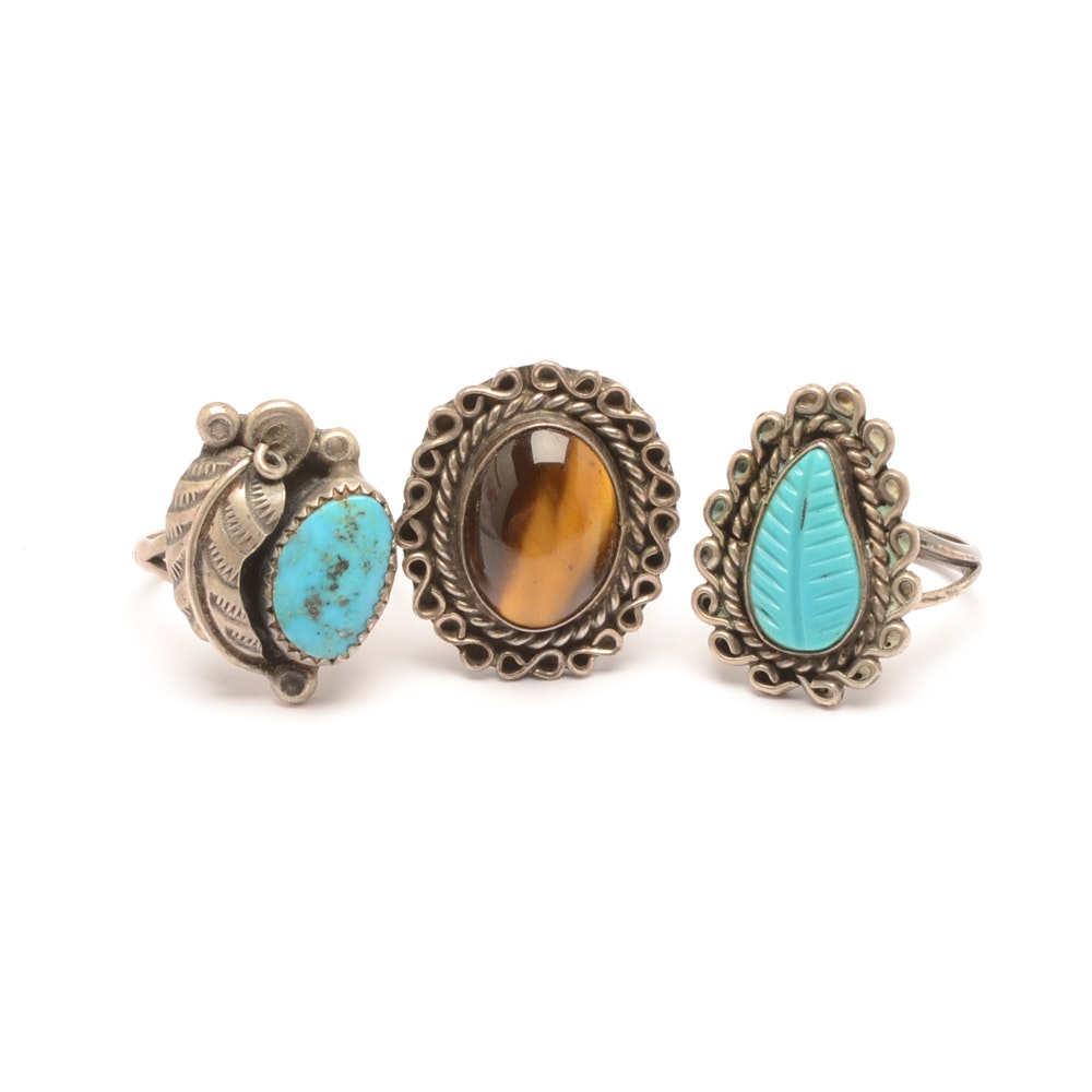 Assorted Sterling Silver and Base Metal Turquoise and Tiger's Eye Rings