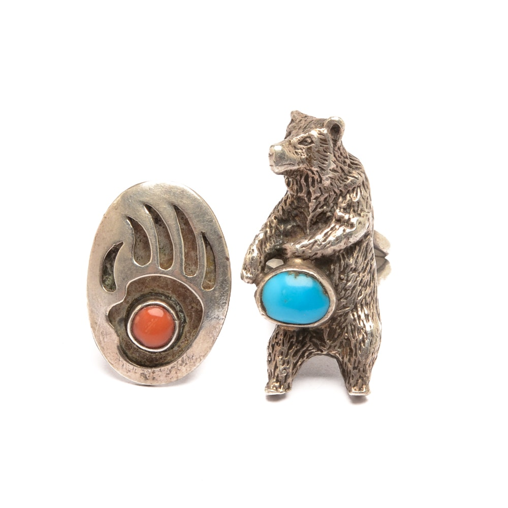 Sterling Silver Turquoise and Coral Bear Themed Rings