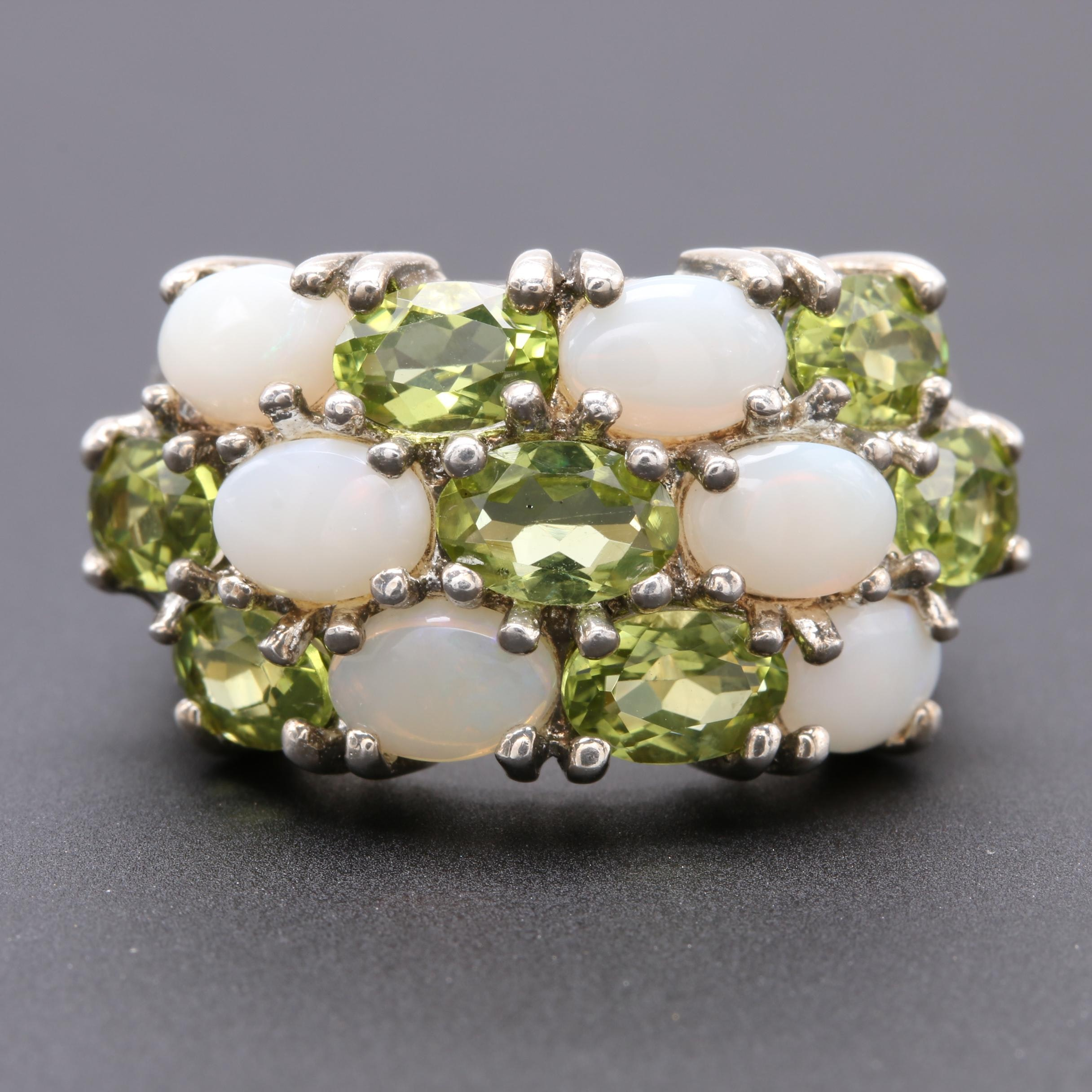 Sterling Silver Opal and Peridot Ring