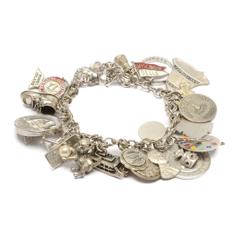 Elco Sterling Silver Travel and Hobby Charm Bracelet