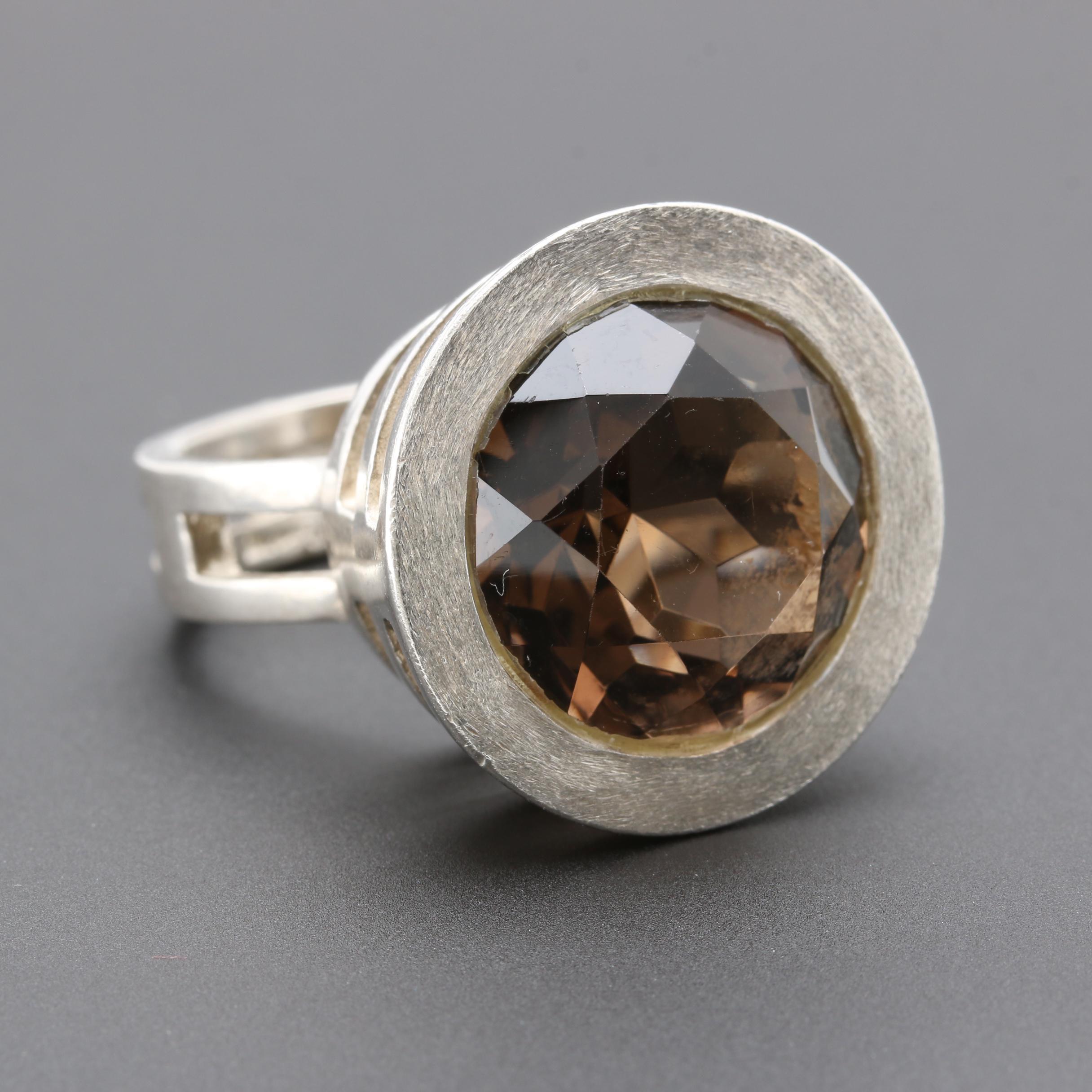 German Sterling Silver Smoky Quartz Ring
