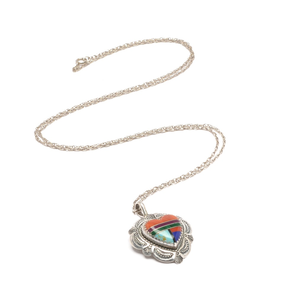 Sterling Silver Synthetic Gemstone Inlay Heart Pendant Necklace