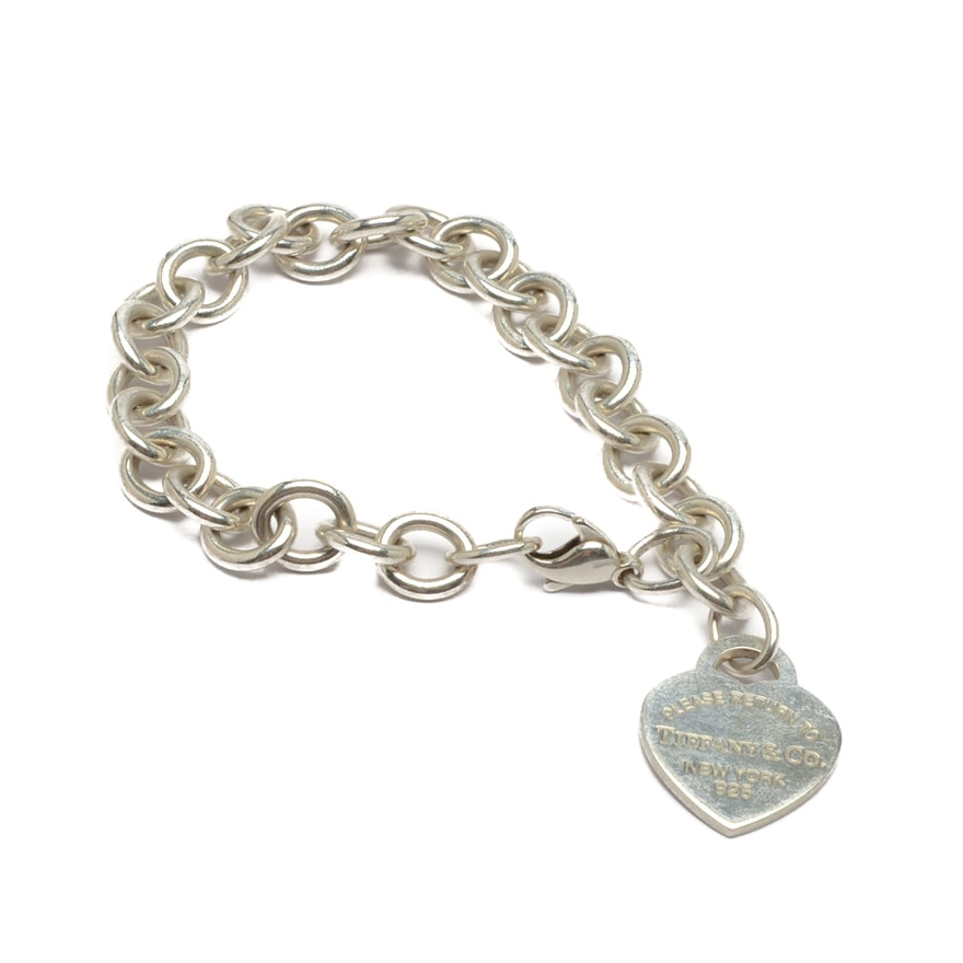 Tiffany Co Sterling Silver Heart Charm Bracelet