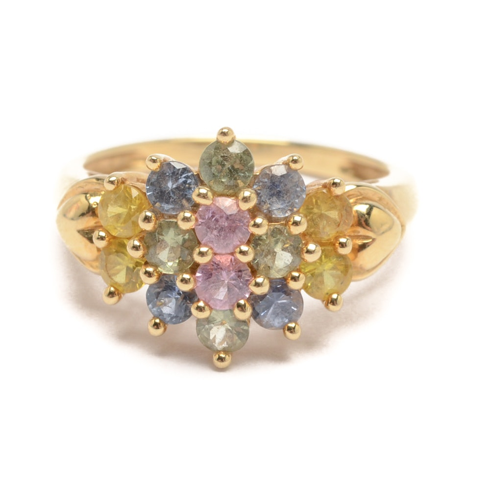14K Yellow Gold Fancy Colored Sapphire Ring