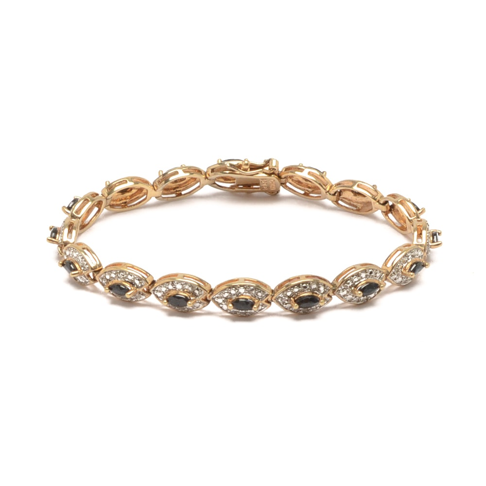 Sterling Silver Gold Wash Bracelet with Sapphires and Diamonds
