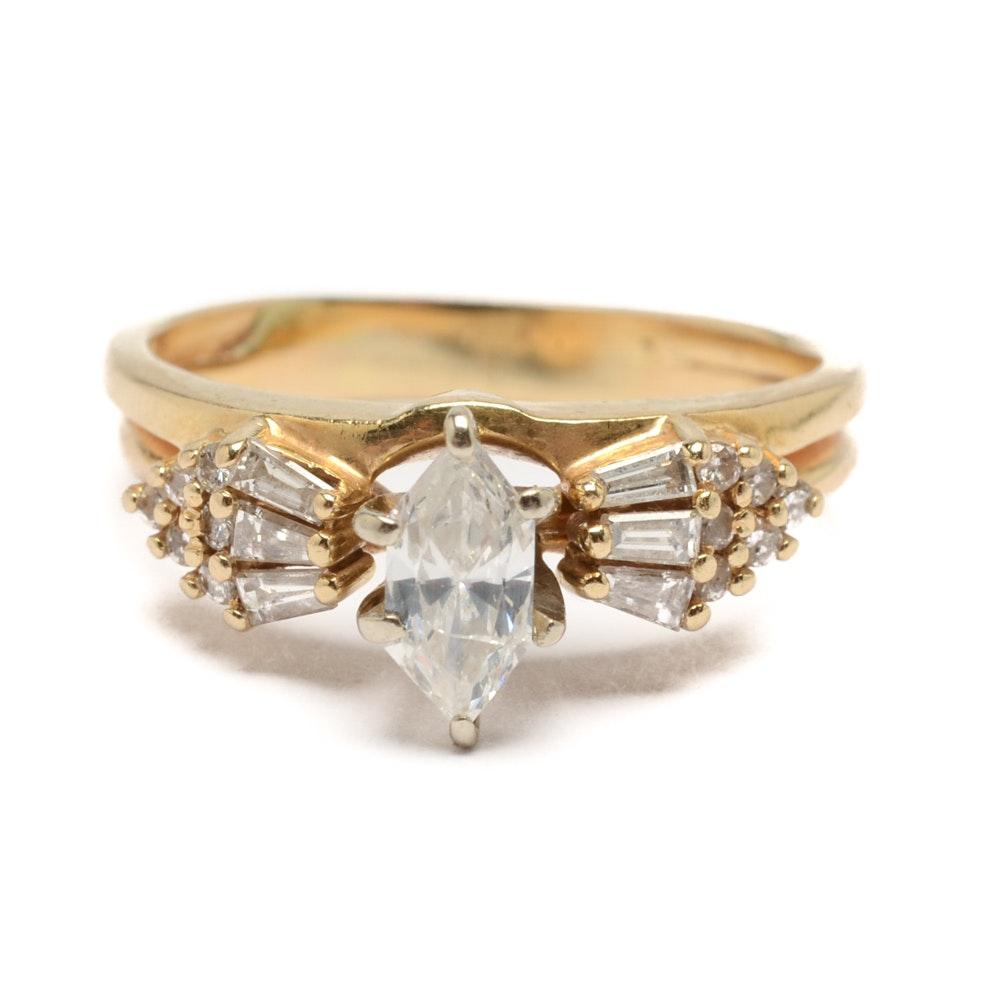 14K Yellow Gold Diamond Bridal Set