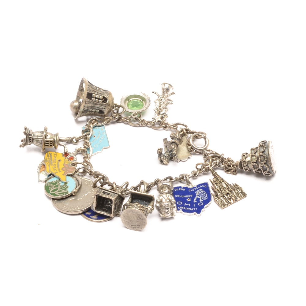 Sterling Silver Charm Bracelet with Glass and Enamel Accented Charms