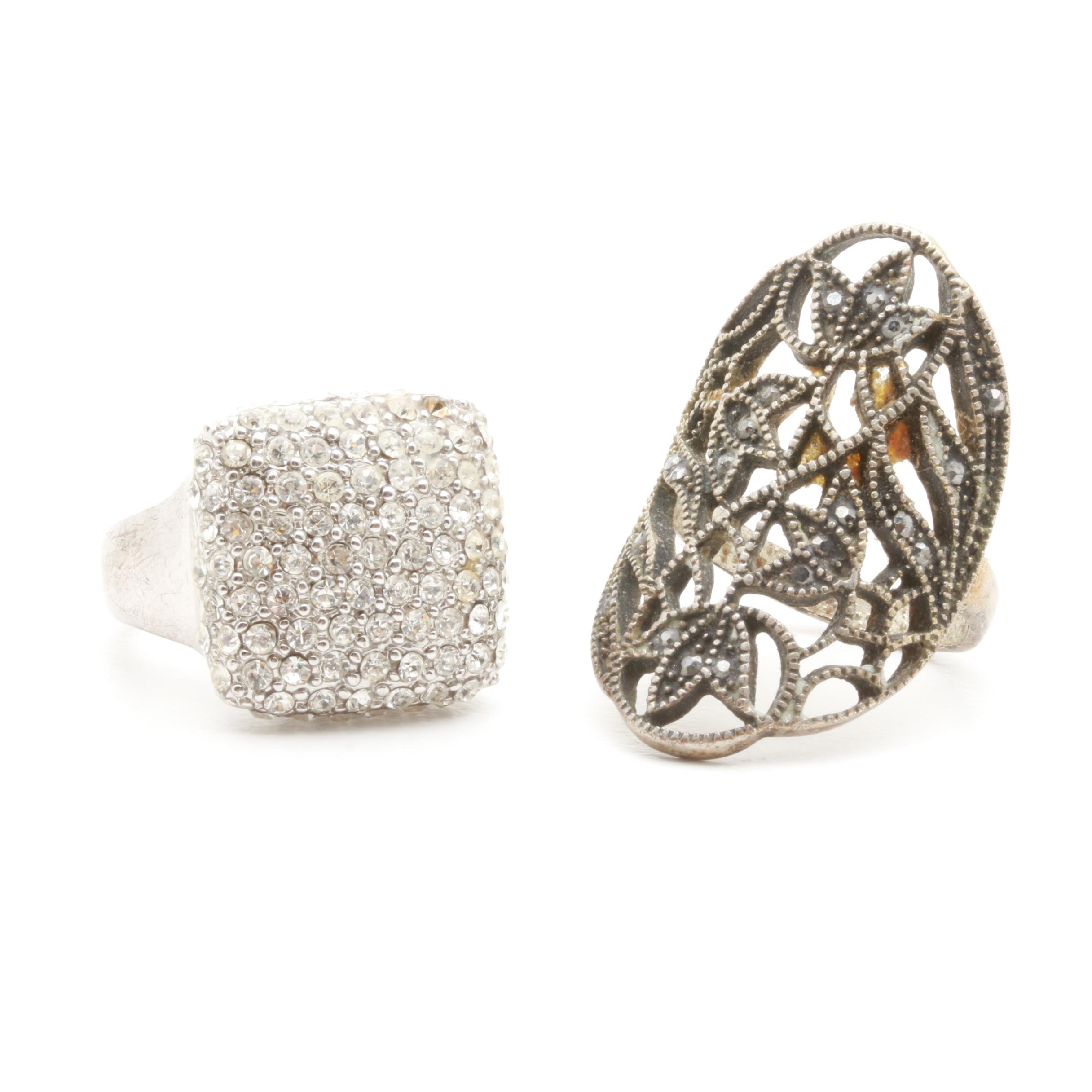 Silver-Tone Ring Selection Including Foilbacks and Marcasite