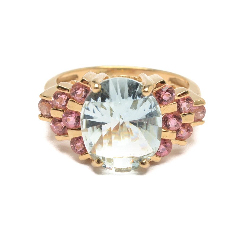 14K Yellow Gold Aquamarine and Pink Tourmaline Ring