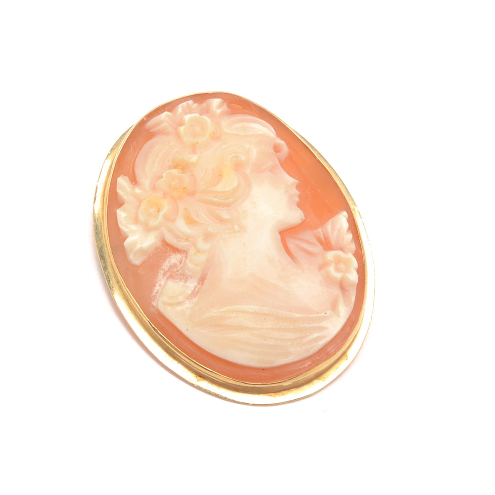 14K Yellow Gold Cameo Converter Brooch Pendant