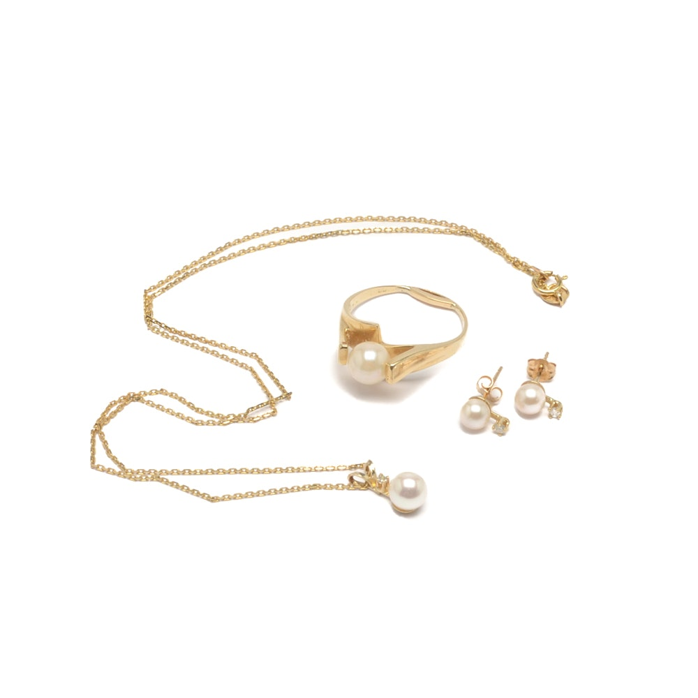 14K Yellow Gold Cultured Pearl and Diamond Pendant Necklace, Earrings and Ring