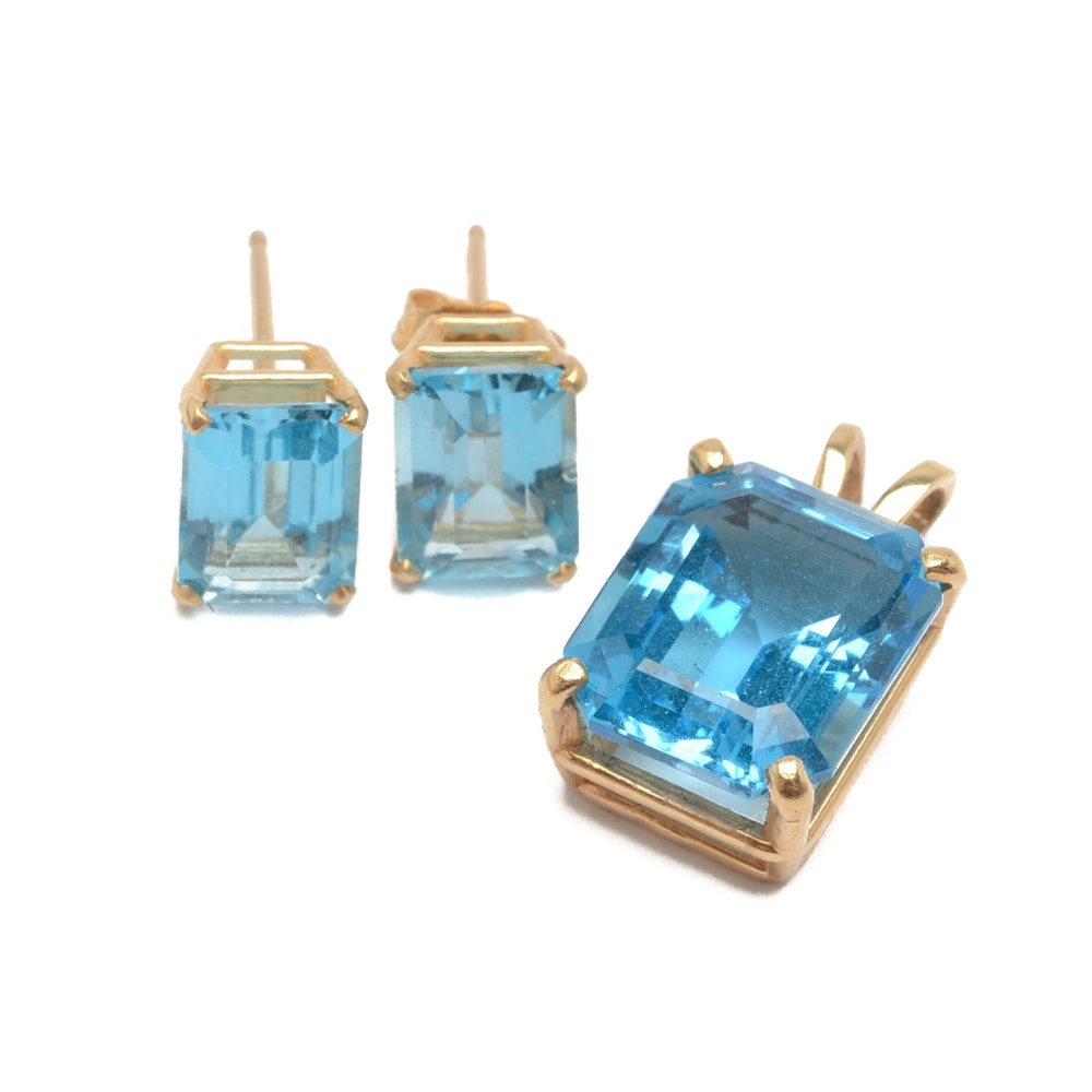 14K Yellow Gold Blue Topaz Earrings and Pendant