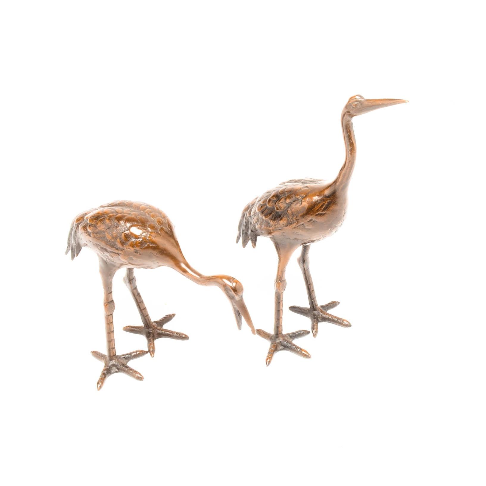 Metal Bronze-Tone Crane Figurines
