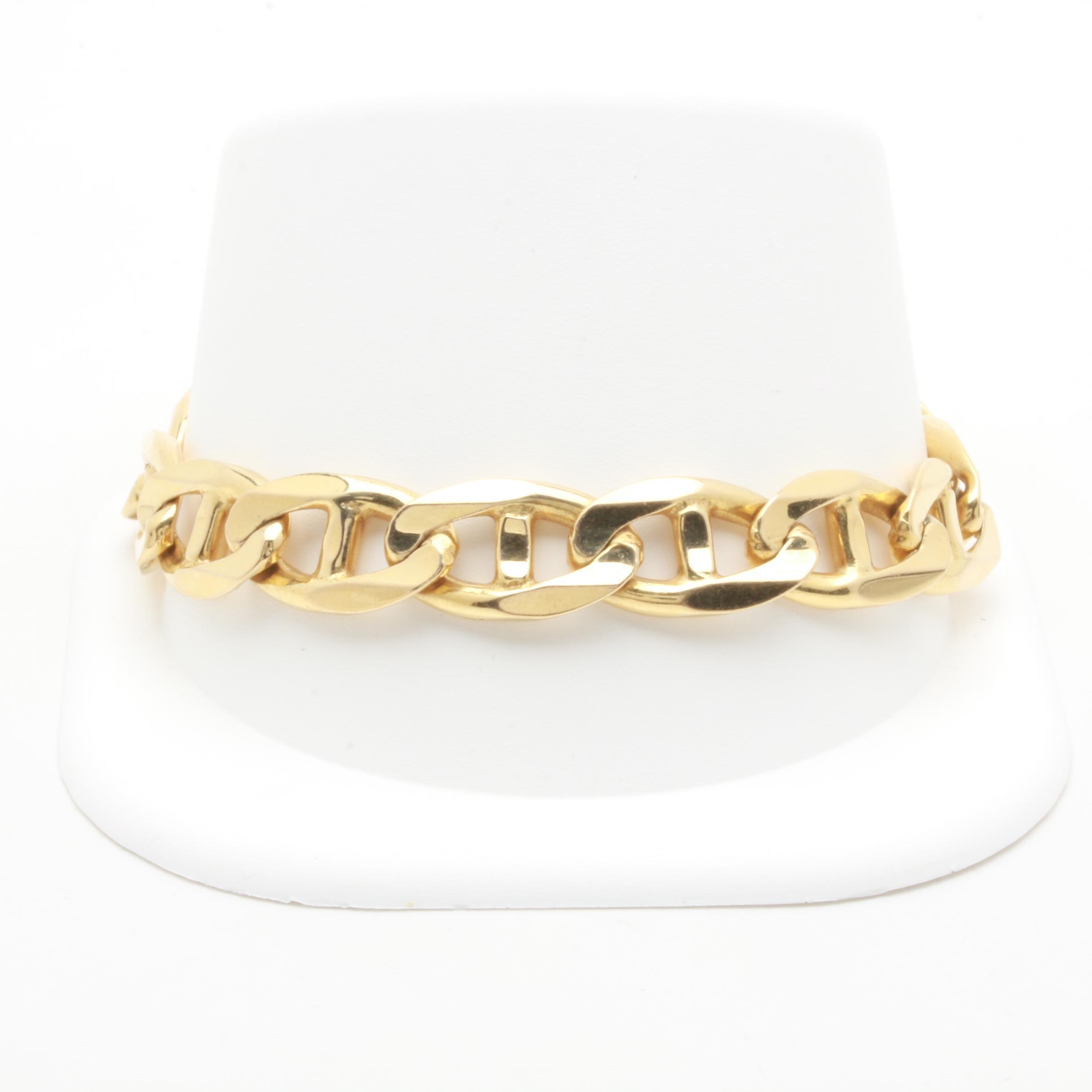 Italian 14K Yellow Gold Anchor Chain Bracelet