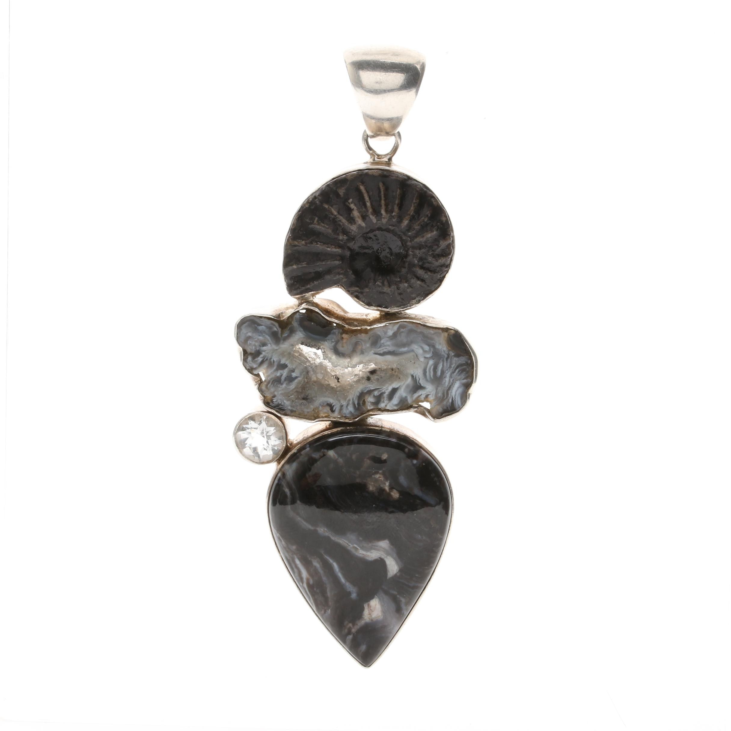 Sterling Silver Gemstone Pendant With Imitation Ammonoid and Quartz