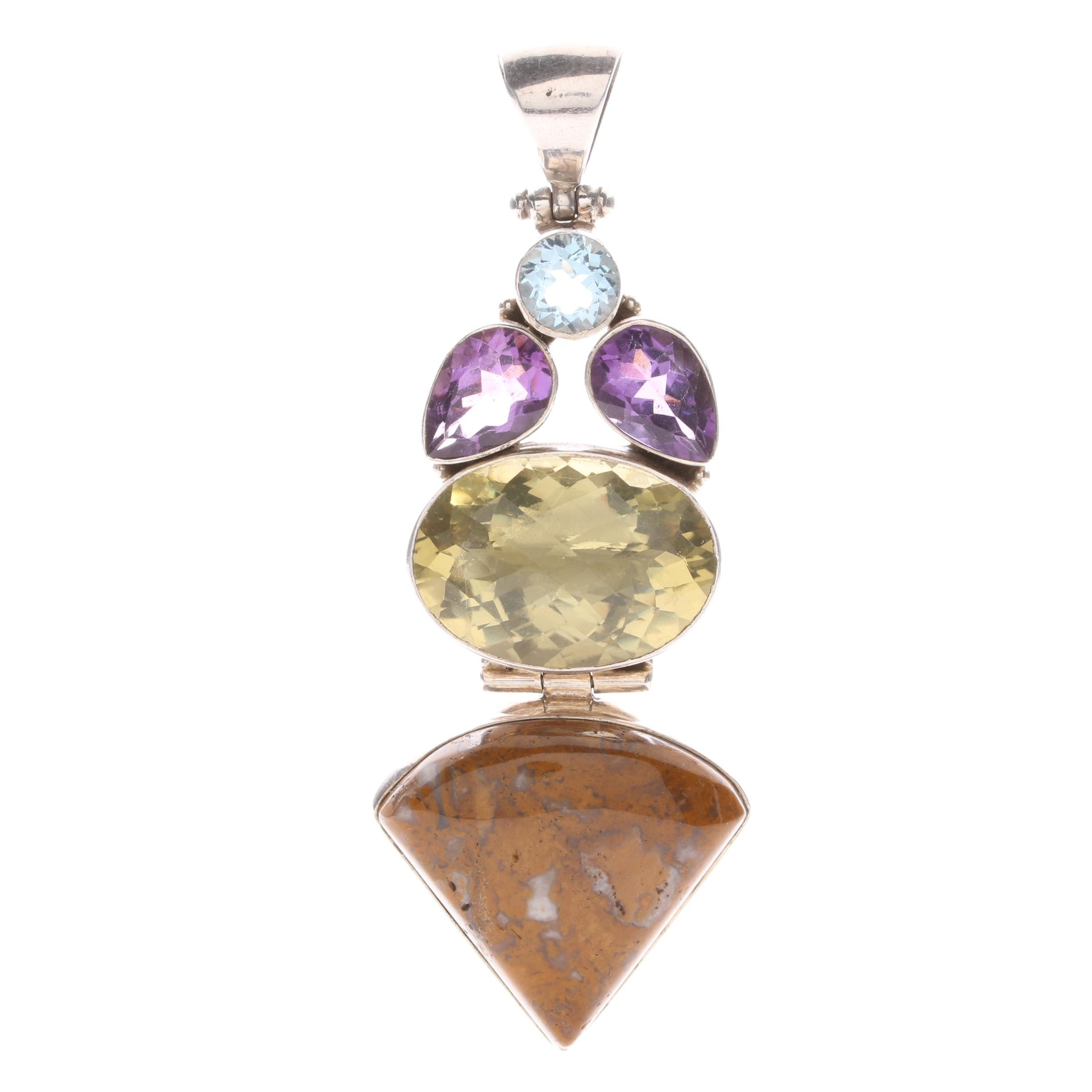 Sterling Silver Pendant Including Amethyst and Blue Topaz